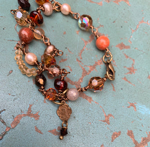 Jesus and Mary Gemstone Autumn Tone Bracelet