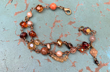 Load image into Gallery viewer, Jesus and Mary Gemstone Autumn Tone Bracelet