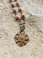 Load image into Gallery viewer, Miraculous Medal Swarovski Pearl and Crystal Necklace