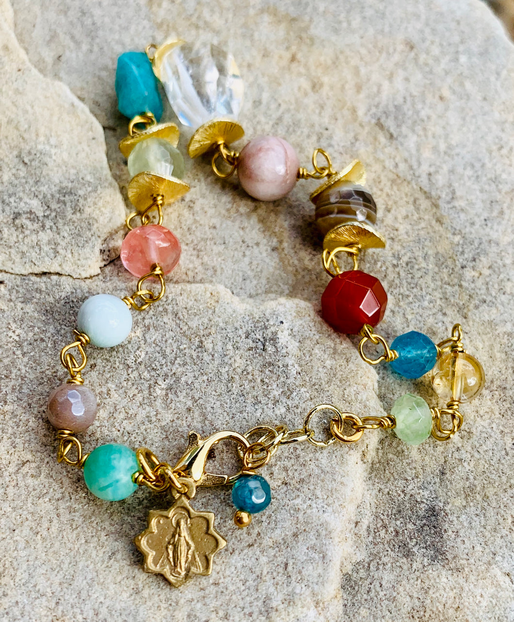 Colorful Gemstone Miraculous Medal Bracelet in Gold