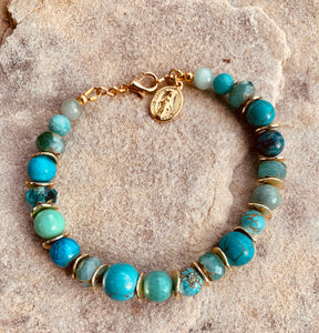 Turquoise, Amazonite and Czech Glass Miraculous Bracelet