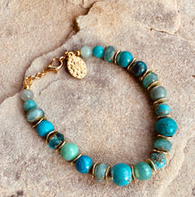 Load image into Gallery viewer, Turquoise, Amazonite and Czech Glass Miraculous Bracelet