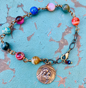 Jesus and Mary Gemstone Bracelet