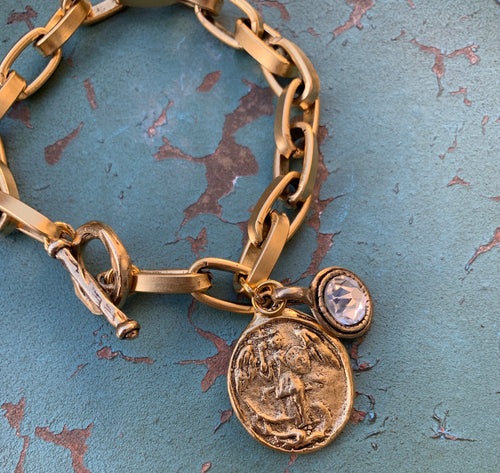 Gold Chain St. Michael Bracelet