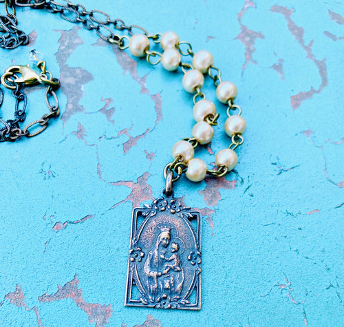 Our Lady of the Scapular Pearl Necklace