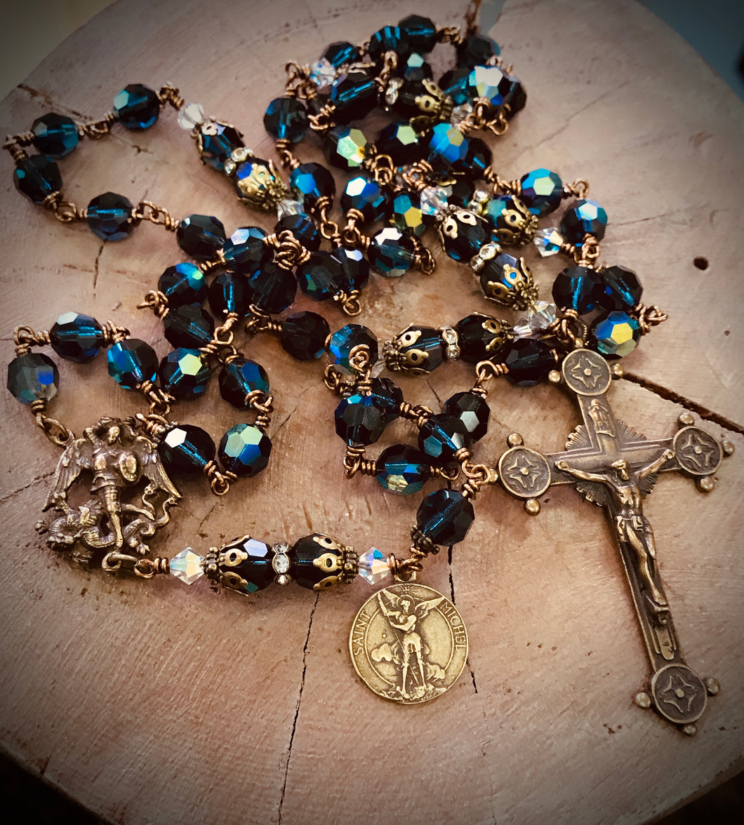 St. Michael The Archangel Swarovski Crystal Rosary