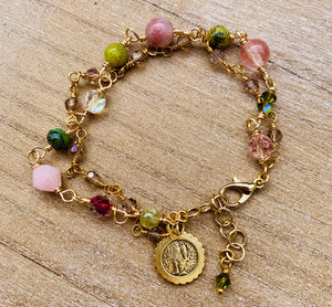 Virgin Mother Gemstone Double Bracelet
