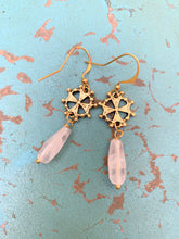 Load image into Gallery viewer, Gold Crosses with Moonstone Earrings