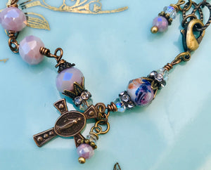 Lilac Crystal Miraculous Medal Rosary Bracelet