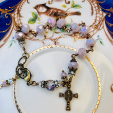 Load image into Gallery viewer, Lilac Crystal Miraculous Medal Rosary Bracelet