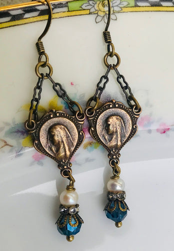 Mary Blue and Pearl Earrings