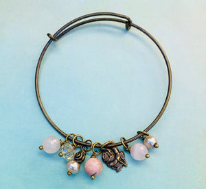 Rose/Miraculous Medal Bangle Bracelet