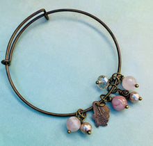 Load image into Gallery viewer, Rose/Miraculous Medal Bangle Bracelet