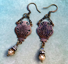 Load image into Gallery viewer, Vintage Pearl and Swarovski Crystal Miraculous Medal Earrings