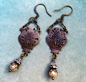Vintage Pearl and Swarovski Crystal Miraculous Medal Earrings