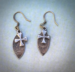 Sterling Cross Medal Earrings