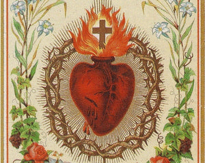 "Sacred Heart of Jesus –8.5x11"" based on a Vintage Holy Card – Catholic Art Print"