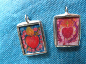 Immaculate Heart of Mary and Sacred Heart of Jesus Charm