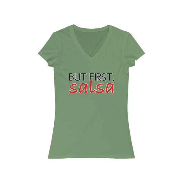 But First, Salsa Woman's V-Neck Tee