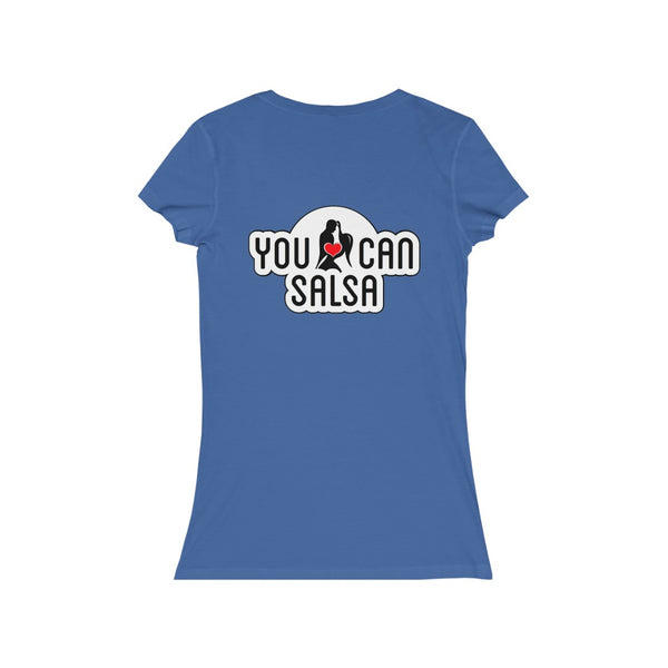 Woman's 'You Can Salsa White Logo' Fitted V-Neck
