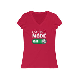 Woman's  'Casino Mode ON' Fitted V-Neck