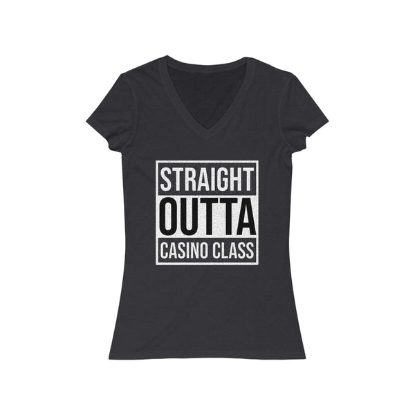 Woman's 'Straight Outta Casino Class' Fitted V-Neck