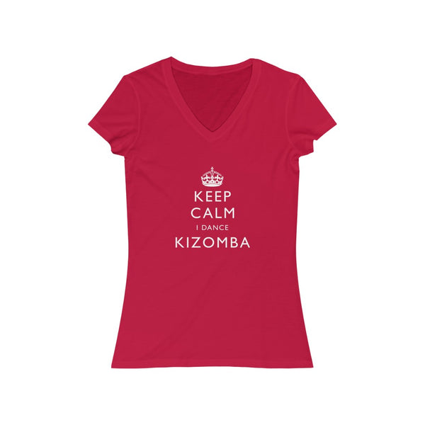 Woman's 'Keep Calm Kizomba' Fitted V-Neck