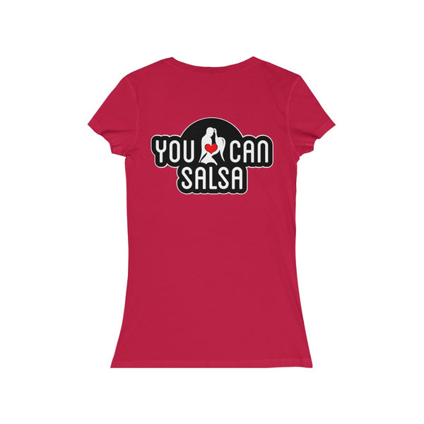 Woman's 'You Can Salsa Black Logo' Fitted V-Neck