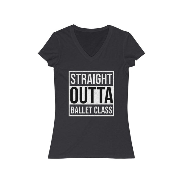 Woman's 'Straight Outta Ballet Class' Fitted V-Neck