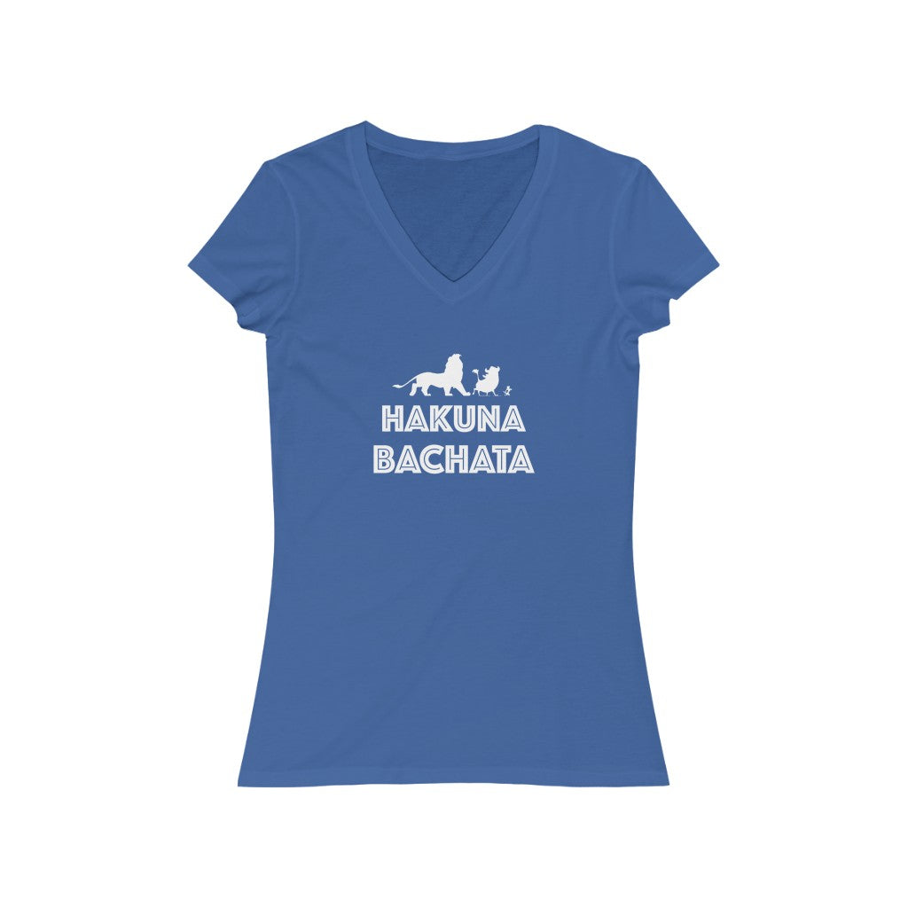 Woman's 'Hakuna Bachata' Fitted V-Neck
