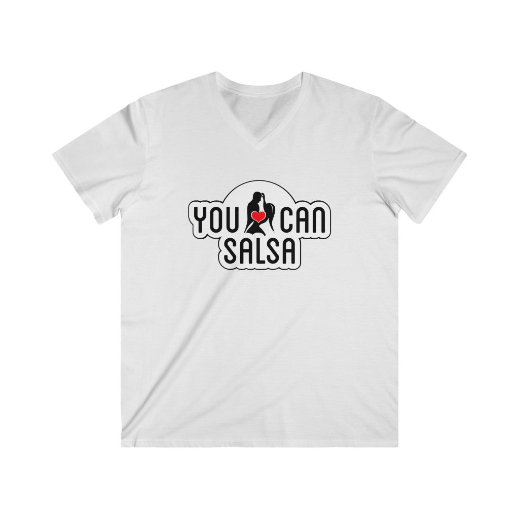 Men's You Can Salsa White Logo Fitted V-Neck