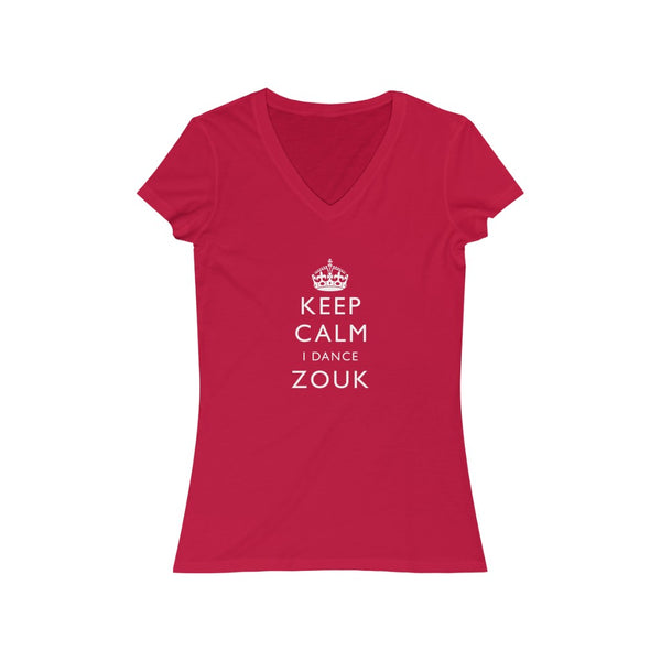 Woman's 'Keep Calm Zouk' Fitted V-Neck