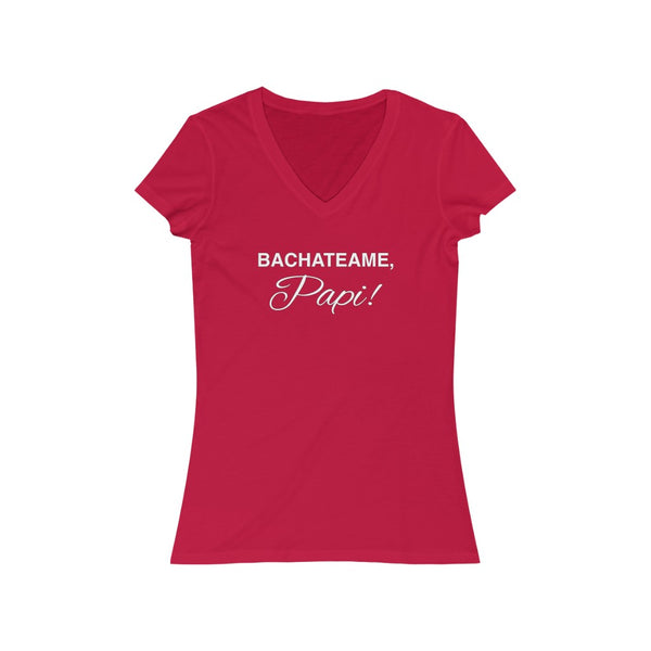 Woman's 'Bachateame Papi' Fitted V-Neck
