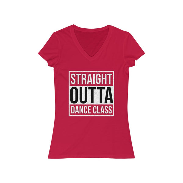 Woman's 'Straight Outta Dance Class' Fitted V-Neck