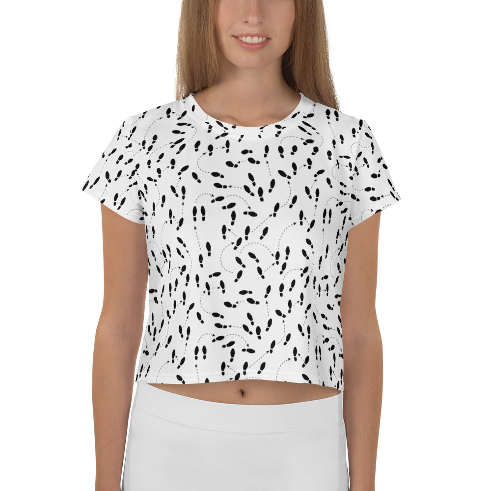 Woman's Shoe Print Crop Tee