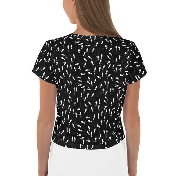 Woman's Black Shoe Print Crop Tee