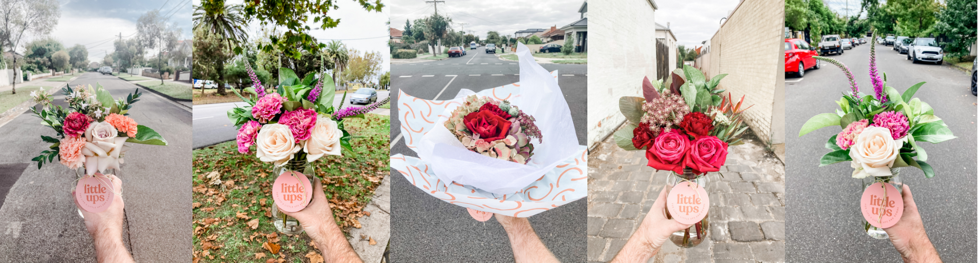 Fresh flower jars and bunches delivered daily and captured in lots of different suburbs across Melbourne. They are being held up in the street by our Flower Delivery Specialist.