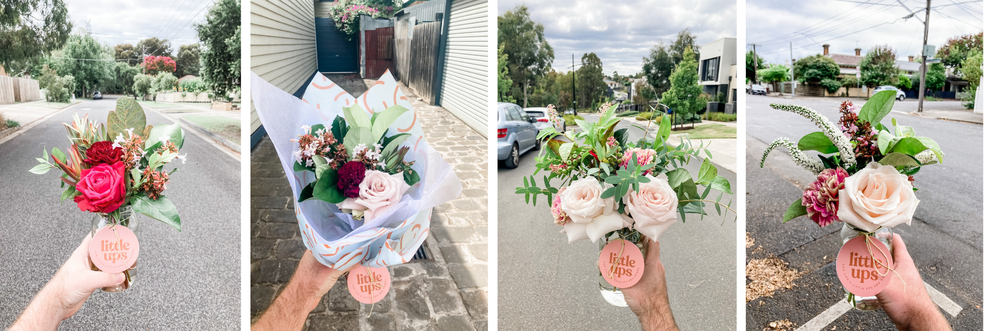 A selection of our recent flower jars and bunches moments before they were delivered across Melbourne. They are being held up by our Flower Delivery Specialist in the residential streets of Melbourne suburbs.