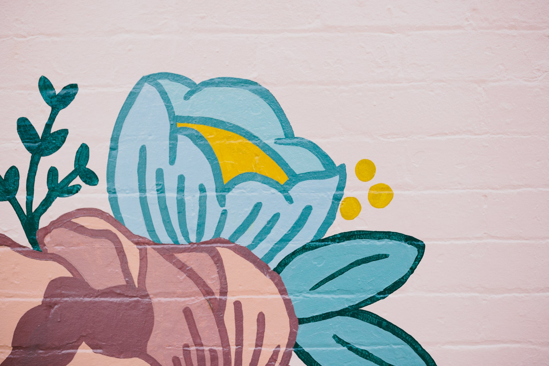 Melbourne Flower Delivery. An image of our old shop mural in Melbourne's northern suburb of Coburg. It features a pale pink background with flower illustrations in blue, teal, dusty pink and yellow.