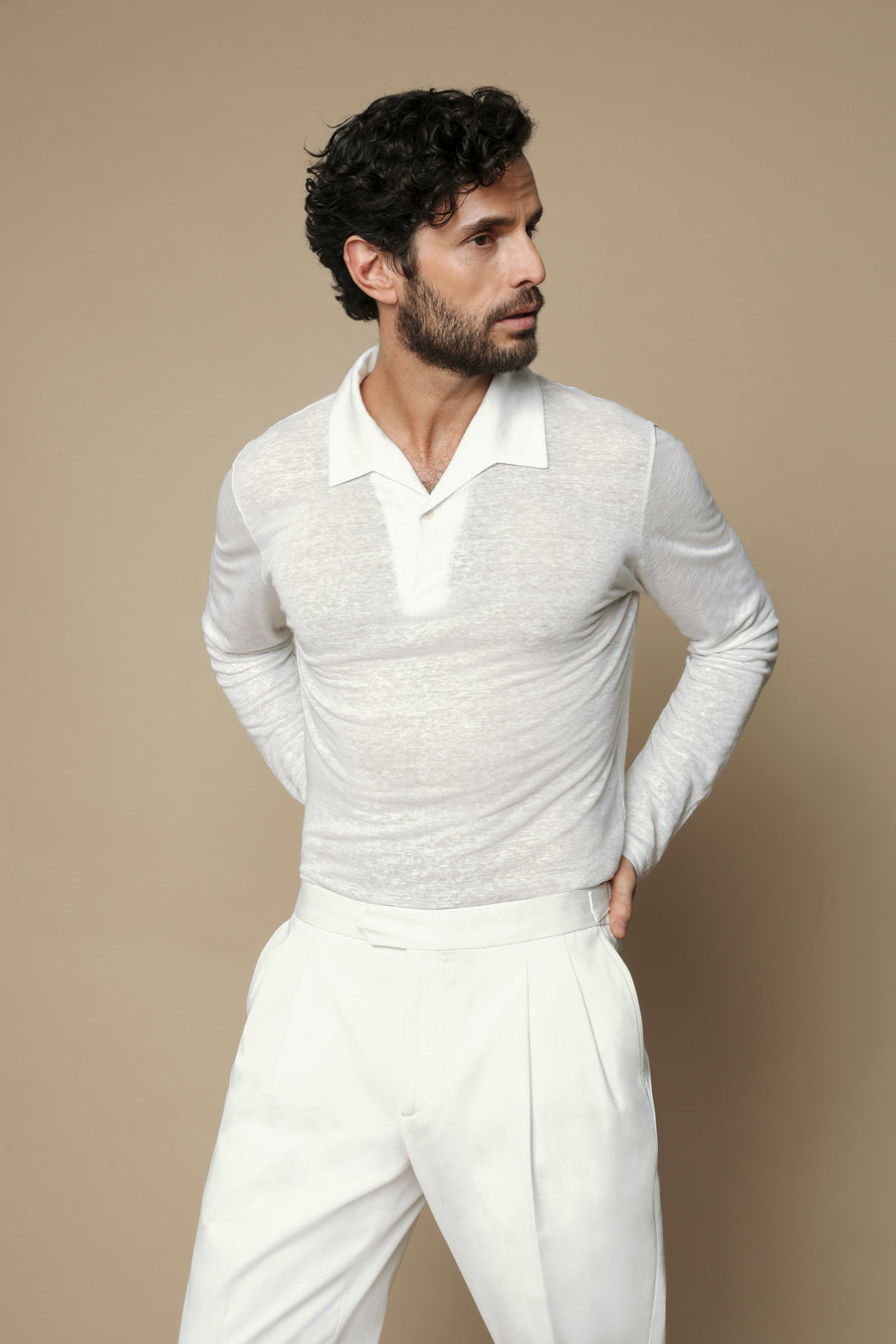 White Linen Collar Polo Shirt