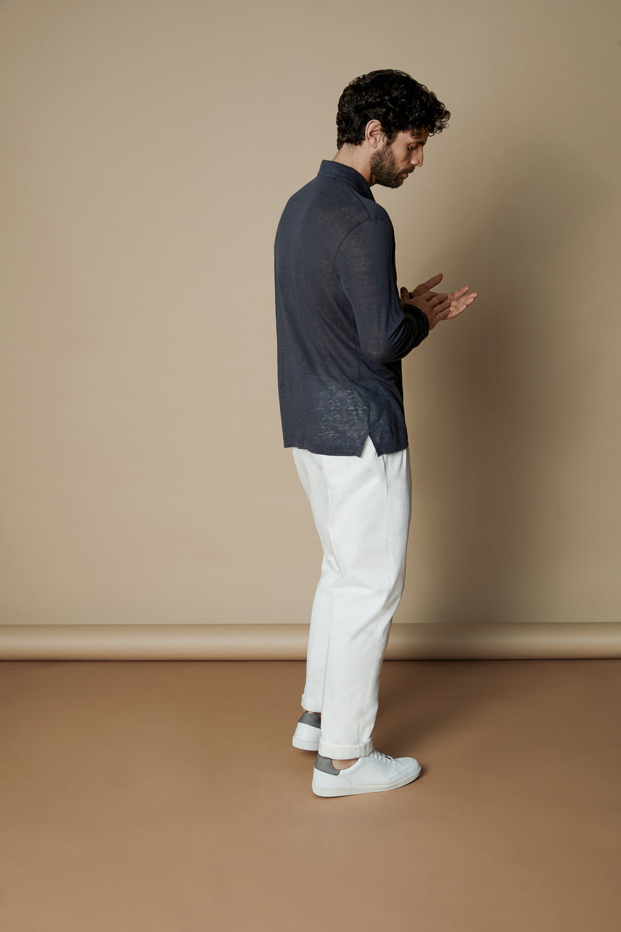 Blue Linen Collar Polo Shirt