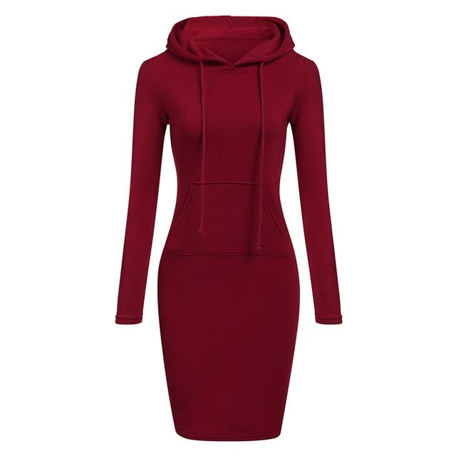 Autumn Winter Warm Sweatshirt Long-sleeved Dress - 4buyonline