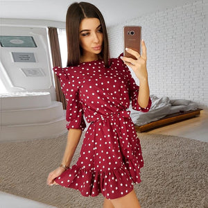 Fashion Ruffle Trim Sashes Women Summer Dress - 4buyonline