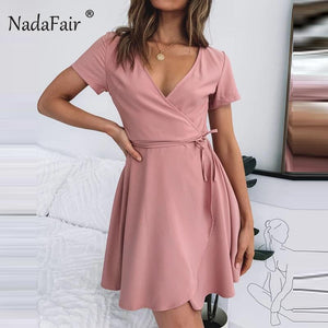 Nadafair V Neck Pink Mini Wrap Dress - 4buyonline