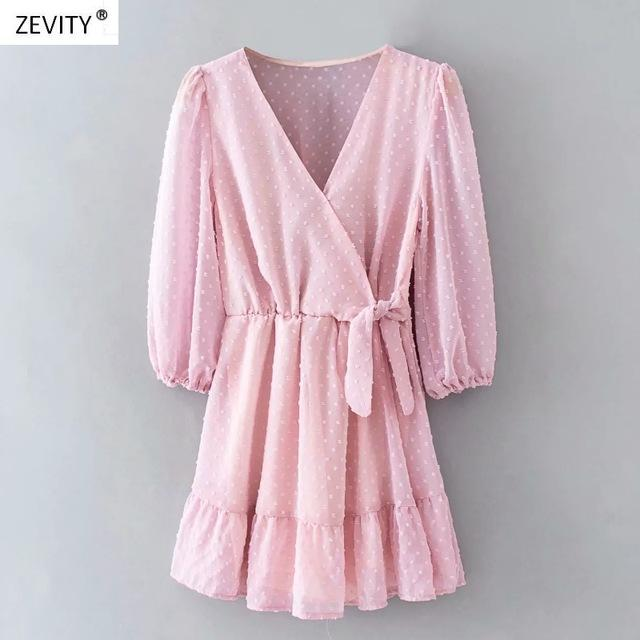 New Women elegant cross v neck bow tied chiffon vestido hem ruffles mini Dress - 4buyonline