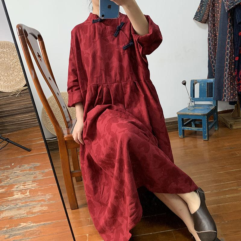 Real-time Chinese women's dress, vintage, placket, loose large-size cotton and linen long - 4buyonline
