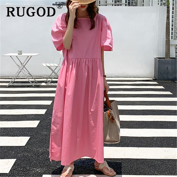 RUGOD Korean ins solid loose summer dress RUGOD Korean ins solid loose summer dress - 4buyonline