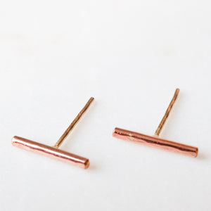 Rose Gold Bar Studs