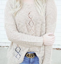 Load image into Gallery viewer, oatmeal diamond cutout sweater