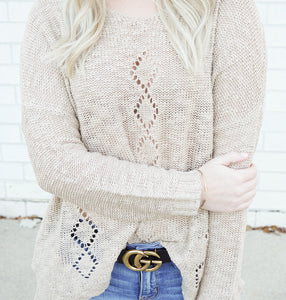 oatmeal diamond cutout sweater